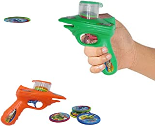 Disc Shooter   Kids 2 Foam Disc Shooters with 8 Foam Discs Each Shooter, Shoots Discs up to 20 Feet. No Batteries Required. Dazzling Toys