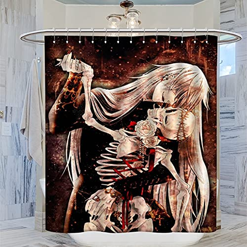 ERGF Black Butler Duschvorhang, wasserdicht, quadratisch, aus Polyesterfaser, 183 x 183 cm