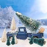 LOVEXIU Mini Weihnachtsbaum Deko,24 StüCk Miniatur Weihnachtsbaum KüNstlicher,Winter Ornamente Mini Modell Weihnachtsbaum Mini Tannenbaum füR Weihnachtsfeier Tischdeko,DIY,Schaufenster (GrüN/Weiss) - 5