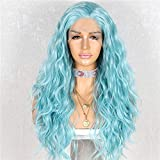 Sapphirewigs Long Light Blue Color Natural Curly Wave Daily Makeup Heat Resistant Synthetic Lace Front Wedding Wedding Party Wigs