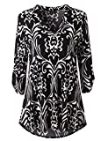 Zattcas Womens Floral Printed Tunic Shirts 3/4 Roll Sleeve Notch Neck Tunic Top,Black White,Large