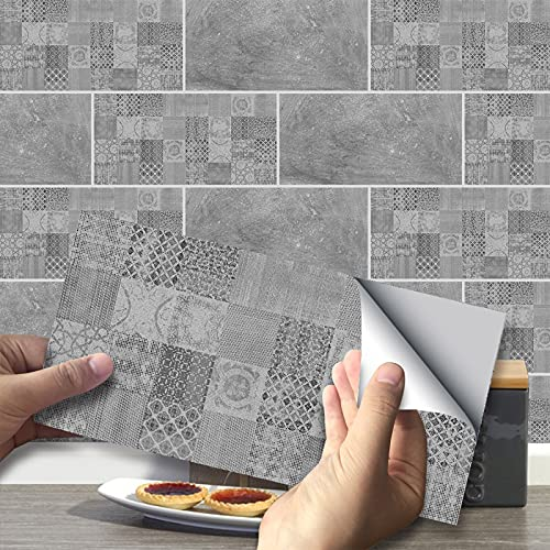 VIVILINEN 27PCS Pegatinas Autoadhesivas para Azulejos Pegatinas de Pared de PVC Impermeables Diseño de Azulejos de Cemento Decoración Adhesiva 20x10cm para Cocina Baño (Cemento)