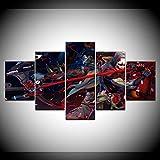 Impreso Mural 5 Piezas Lienzos Cuadros Pinturas Pionero Genji Y Hanzo Home Game Impresiones En...