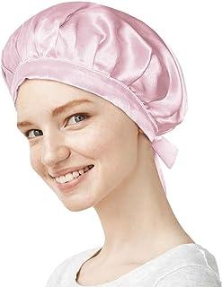 【美容のプロ推薦】天然シルク100% ナイトキャップ ロングヘア対応 コーム付き クリームシルク (ピンク, L)