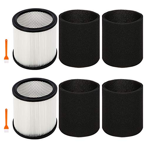 Replacement Filter Cartridge for Shop Vac 90304 90350 90333,Fits Wet/Dry Vacuum Cleaners 5 Gallon and Above(2 Filter+4 Foam+2 brush)