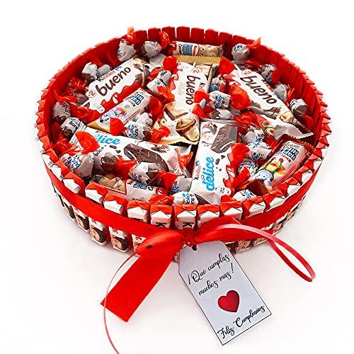 Regalo Original de Kinder. Tarta dulce rellena con un surtido de chocolatinas kinder ideal para regalar