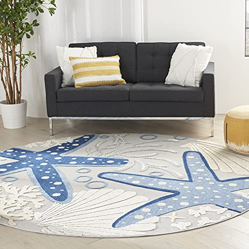 Nourison Aloha Blue/Grey 8' Round Area Rug , 7'10' x Round