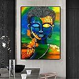 wojinbao Arte Moderno de Pared de lonaColorido Budismo Arte de la Pared Lienzo ng Señor Buda Carteles e Impresiones Cuadros de Pared Decoración para el hogar Cuadros para Sala de Estar