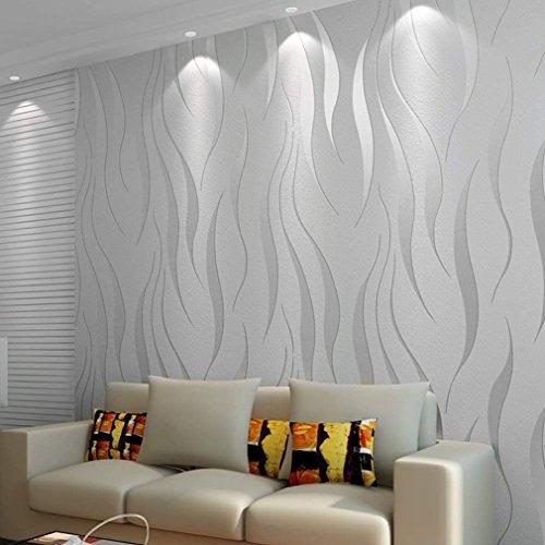 Vliestapete 10,05 m x 0,53 m Elegance Tapete neobarock glamourös Klassisch Unitapete für Wohnzimmer Schlafzimmer Büro, metallic Silber
