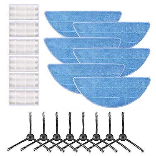 DERCLIVE 8 cepillos laterales + 6 filtros + 6 almohadillas de fregona compatibles con ILIFE V5 V5S Robot Aspiradora