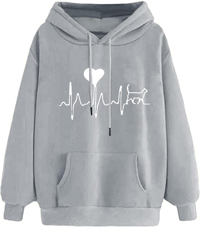 Toeava Sweatshirt for Women,Women's Heart Cat Long Sleeve Hoodies Pullover Teen Girls Hooded Sweatshirt with Pocket