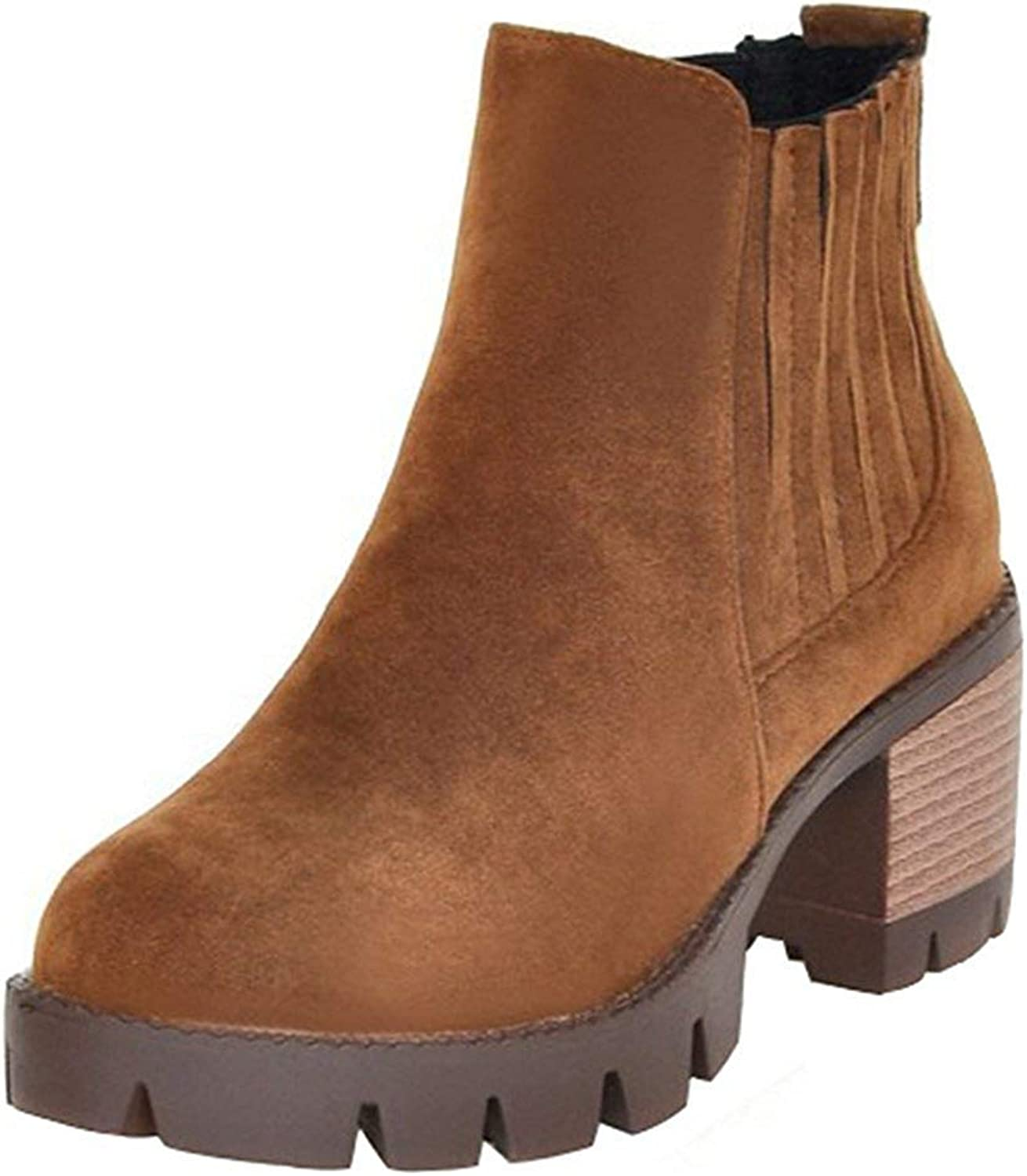 Gedigits Women's Fashion Faux Suede Round Toe Stacked Block Medium Heel Platform Slip-on Ankle Booties Coffee 6 M US
