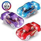 PROACC 3 Piezas Track Race Car Transparente Circuito Coches Juguete Niño Coches Led Accesorios de Pista para Niños 3 4 5 6 Años