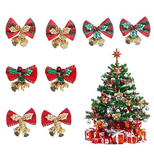 Dulau 20 Pezzi Fiocchi di Natale con Mini Campanellini, Albero di Natale Appeso Decorazione, Arco di Raso Ornamenti Accessori Decorazione per Albero di Natale Matrimonio Natale