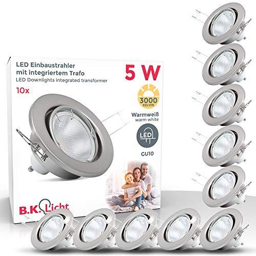 B.K.Licht I 10er Set schwenkbare LED Einbaustrahler I inkl. 5W GU10 Leuchtmittel I 400lm I warmweiße Lichtfarbe I IP23 I LED Einbauleuchte I LED Spot Deckenspots
