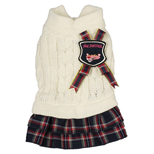 Roze Panter Wol Huisdier Sweater met Rok en Cockade Wit/Check Stof, X-Small, Kleur: wit