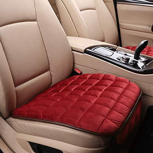 Cojín de asiento de coche de invierno, cojín de silla de oficina, no atado, antideslizante, cojín general para asiento de coche (rojo)