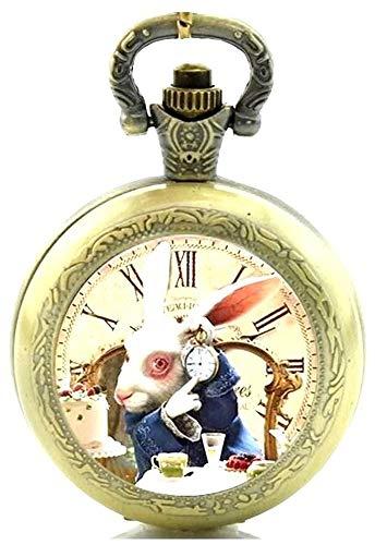 Reloj de bolsillo con mecanismo de cuarzo y cadena, diseño de Alicia en el País de las Maravillas, efecto de bronce antiguo, caja de regalo con pila de repu