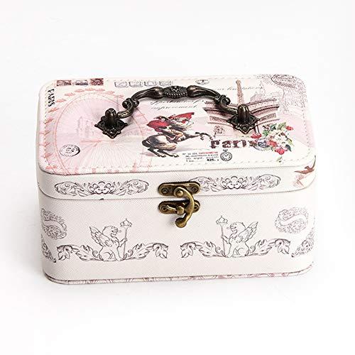 Cajas de Joyería Decorativas Ampliación de la capa doble de la joyería caja portable de la joyería del cuero de la PU de viaje caja de almacenamiento de los pendientes del collar del anillo de la caja