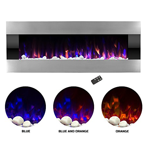 Northwest Electric Fireplace Wall Mounted with LED Fire and Ice Flame, Adjustable Heat and Remote Control, Stainless Steel-54'