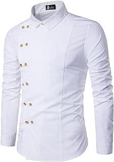 (SGL Collection) ドレスシャツ メンズ 長袖 サイドダブルボタン デザイン アシンメトリ レギュラーカラー スリムフィット カットソー 4色選択 サイズ S ~ XL 【日本向けサイズ仕様】
