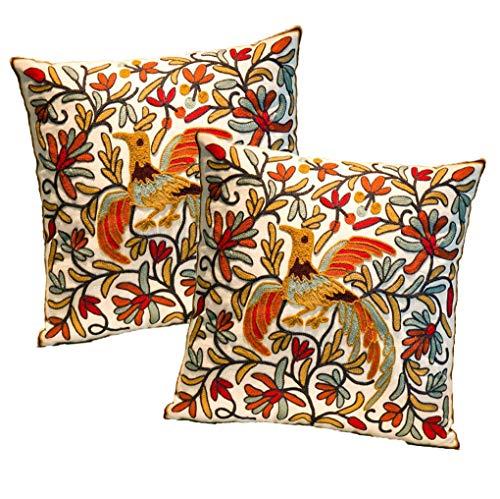 Zuodu - Juego de 2 fundas de cojín de bordado grande y suave para decorar el hogar, dormitorio, sala de estar, 45,7 x 45,7 cm