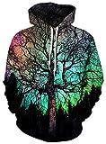 OWMMIZ Unisex Novelty Hoodies 3D Print Graphic Hooded Pullover Sweatshirt Pocket Black Green