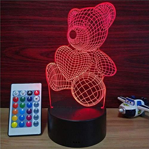 Yujzpl 3D Illusion Lampe Led Nachtlicht Mit 7 Farben Flashing & Touch-Schalter,Für Schlafzimmer Kinder Weihnachts Valentine Geburtstag Geschenk[Energieklasse A++]Teddybär Liebe