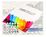 """Paint by Numbers DIY Painting Kit for Kids & Adults by iCoostor – 16"""" x 20"""" Framless Beautiful Lakeside Village Pattern with 3 Brushes & Bright Colors"""