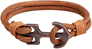 CLY Jewelry Copper Navy Anchor Handmade Braided Leather Bracelets Design of Anchor Secure Love Hope of Life Gift for Men Women Love Ocean