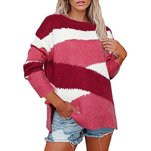 YZANYFQH Herbst Und Winter Frauen Lose Strickpullover UnregelmäßIge Streifen Farbe Passende Pullover Frauen