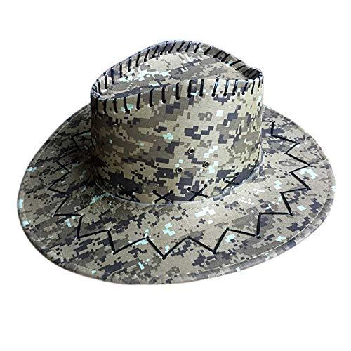 QIANG - Sombrero de vaquero de ante para exterior, para caballos, de piel sintética, con ala grande C2. 6 7/8 / 7 1/8