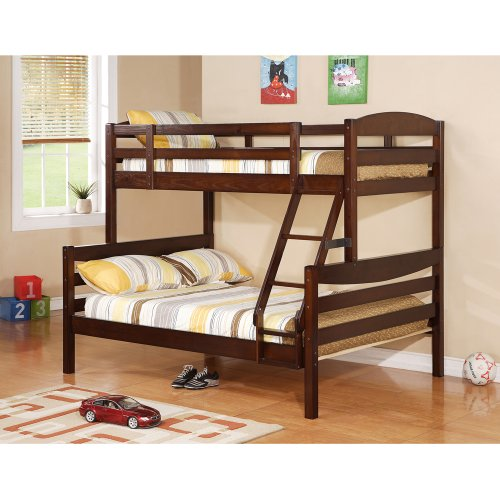 Walker Edison Twin/Double Solid Wood Bunk Bed, Brown