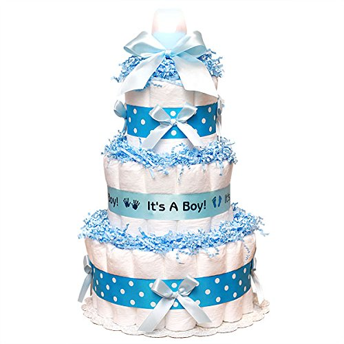 Classic Blue Baby Shower Diaper Cake (3 Tier), Blue Baby Boy Diaper Cake - Boy Diaper Cake, Blue Diaper Cake,It's aBoy Diaper Cake, Baby Shower Centerpiece/ New Baby Gift/ Welcome Baby Gift