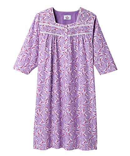Silverts Disabled Elderly Needs Womens Cotton Hospital Nightgown Three-Quarter Sleeves Open - Lilac Vine SMA