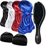 4+2 Silky Durags with Wave Brush for Men 360, Curved Medium/Hard Hair Brush Kits,A