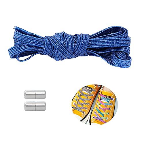 Elastico Senza Cravatta Laces (Confezione da 2), Scarpe Durevoli per Sneaker su Tela Athletic Tennis Sostituzioni di Scarpe da Tennis, Blocco Aggiornato(Size:100cm,Color:Blu)