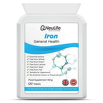 Iron 14mg - 120 Tablets - by Neulife Health and Fitness by Neulife Health and Fitness