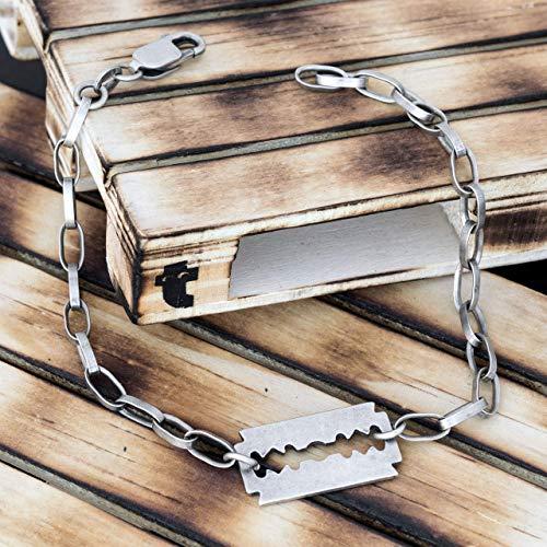 925 Sterling Silber Armband für Männer Geschenk für Männer Armband Männer Gothic Armband Kette Armband rustikalen Schmuck Friseur Geschenk Chunky Punk Rock