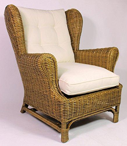 Rattan Ohrensessel King Chair, Rattansessel, Relexsessel, Hochlehner inkl. Polster Korbfarbe : Honig