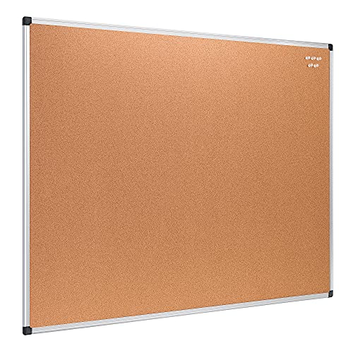 Amazon Basics Kork-Pinnwand, 90 cm x 120 cm, Aluminiumrahmen