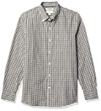 Amazon Brand - Goodthreads Men's Slim-Fit Long-Sleeve Gingham Plaid Poplin Shirt, Green Depths, Small