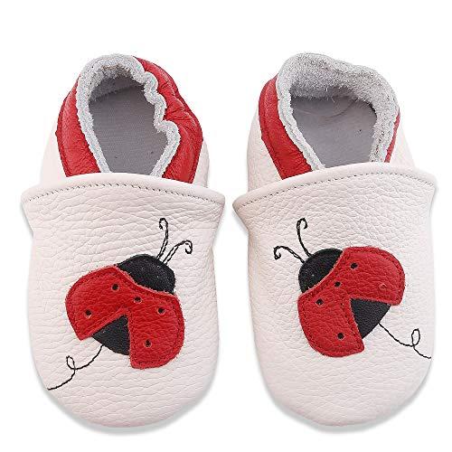 LSERVER Zapatos de bebé de Cuero Suave Pantuflas Infantiles Patuco de Suela Suave, Mariquta Blanca, L (12-18 Meses)