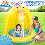 Inflatable Baby Pool, Duck Baby Splash Pool with Canopy Extra Soft Bubble Base for Kids Toddlers, Spray Water Fun Summer Blow Up Shade Pool for Outdoor and Indoor