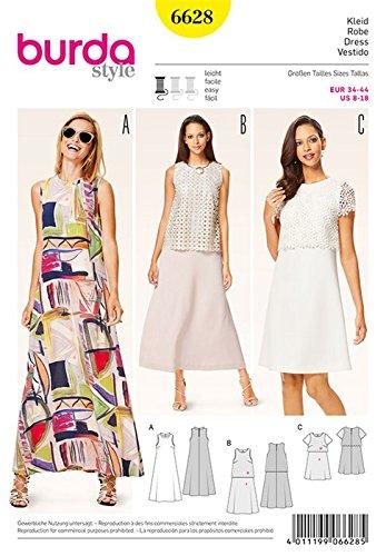 Burda b6628Schnittmuster Kleid Papier weiß 19x 13x 1cm