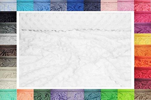 Minky ultra doux tissu à pois 50 cm x 155 cm (Blanc)
