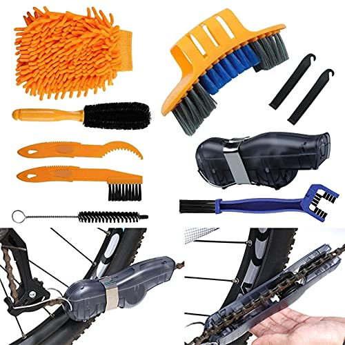 Juego de 8 herramientas de limpieza de bicicletas, limpiador de cadena de bicicleta, kit de limpieza de motos, herramientas para limpiar cadena de bicicleta, manivela, neumático, piñón
