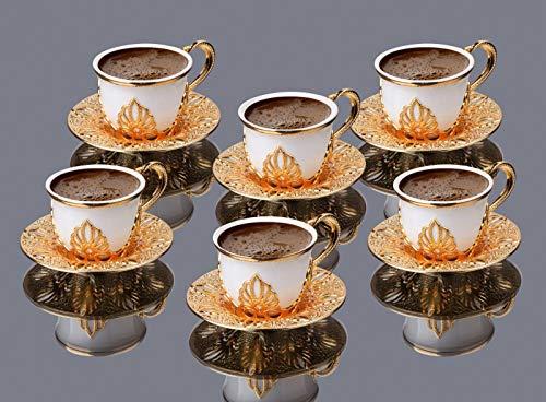 LaModaHome Espressotassen mit Untertassen 6er Set, Porzellan Türkisch Arabisch Griechisch Kaffeetasse und Untertasse, Kaffeetasse für Frauen, Männer, Erwachsene, Einzug Hochzeit Geschenke - Gold/Weiß