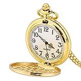 Reloj de bolsillo, Colgante de collar de reloj de bolsillo liso análogo de cuarzo clásico de 3 colores con cadena(#3)
