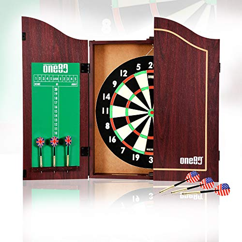 ONE80 All-in-One Dartgame Center with Self-Healing Sisal Dartboard & Multifunctional Cabinet. 12 Steeltip Darts and Mounting Kit Included (Paper Dartboard Cabinet Set)